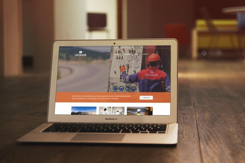 Mockup con la página web para Geonor desarrollada por Noroesteweb: diseño gráfico y páginas web.
