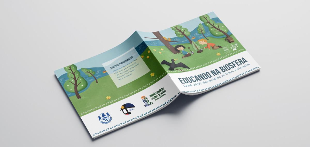 """Ilustración para el diseño gráfico de la portada y contraportada de la memoria """"Educando na Biosfera"""" que Noroesteweb realizó para el Concello de Sada"""